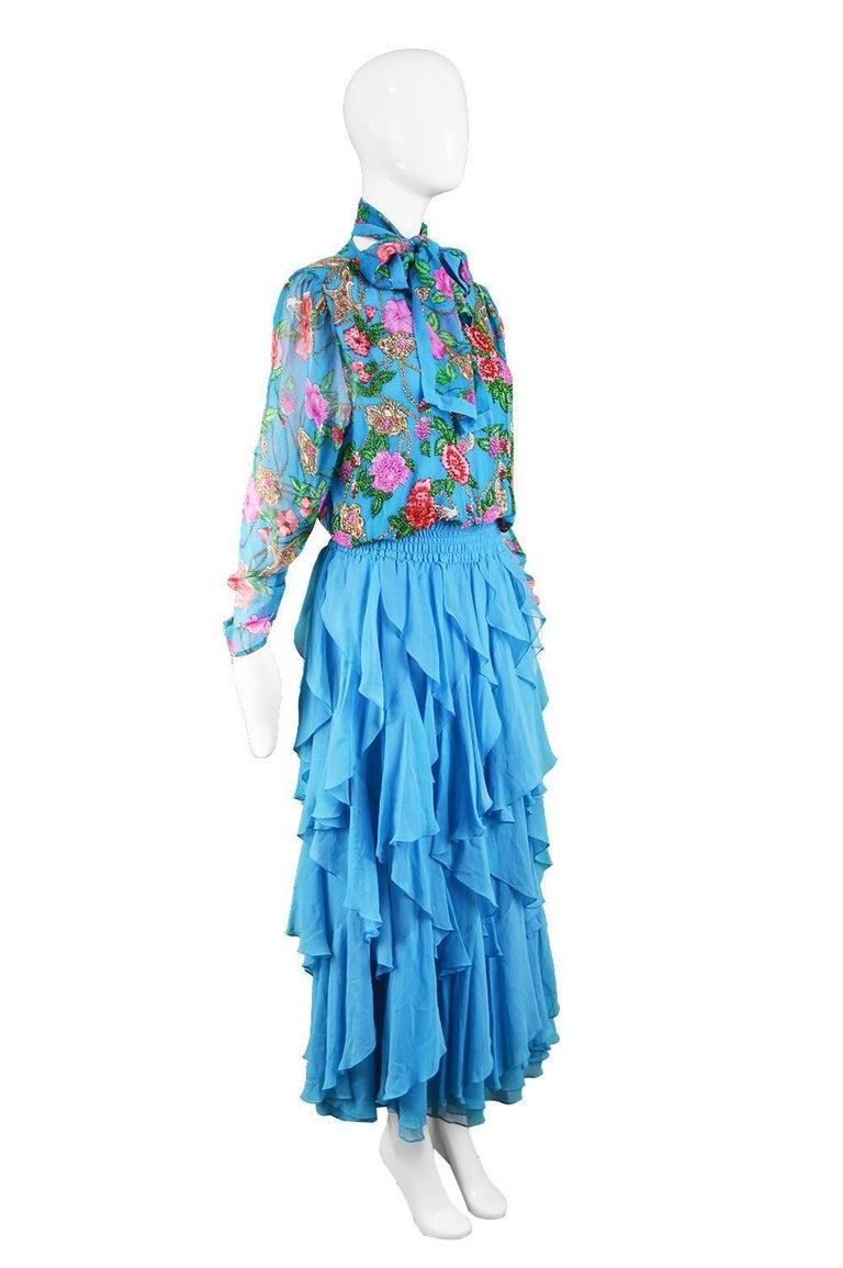 Diane Freis Vintage 1980's Beaded Blue Ruffle Silk Floral Georgette Dress For Sale 4