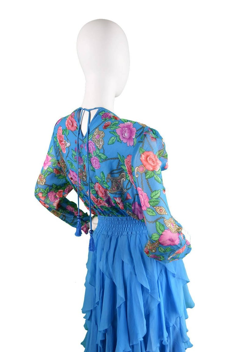 Diane Freis Vintage 1980's Beaded Blue Ruffle Silk Floral Georgette Dress For Sale 5