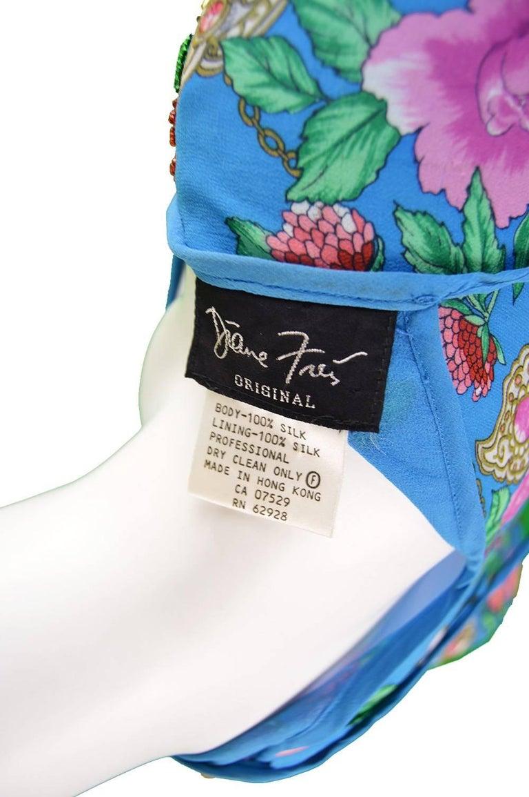 Diane Freis Vintage 1980's Beaded Blue Ruffle Silk Floral Georgette Dress For Sale 6