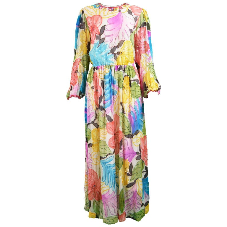 Swee Lo Vintage Pure Watercolour Silk Glass Beaded Dress, 1970s For Sale