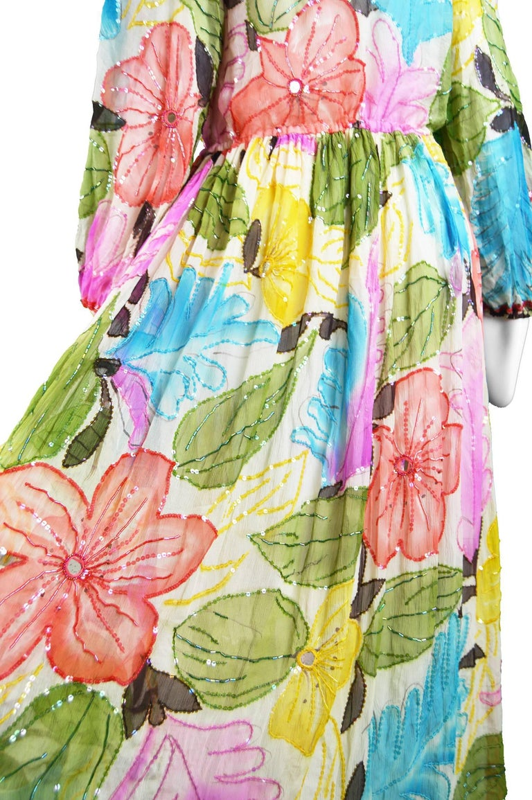 Swee Lo Vintage Pure Watercolour Silk Glass Beaded Dress, 1970s In Excellent Condition For Sale In Doncaster, South Yorkshire