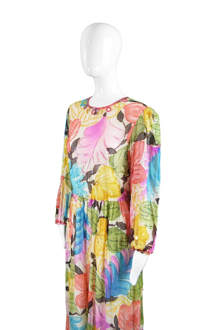 Women's Swee Lo Vintage Pure Watercolour Silk Glass Beaded Dress, 1970s For Sale