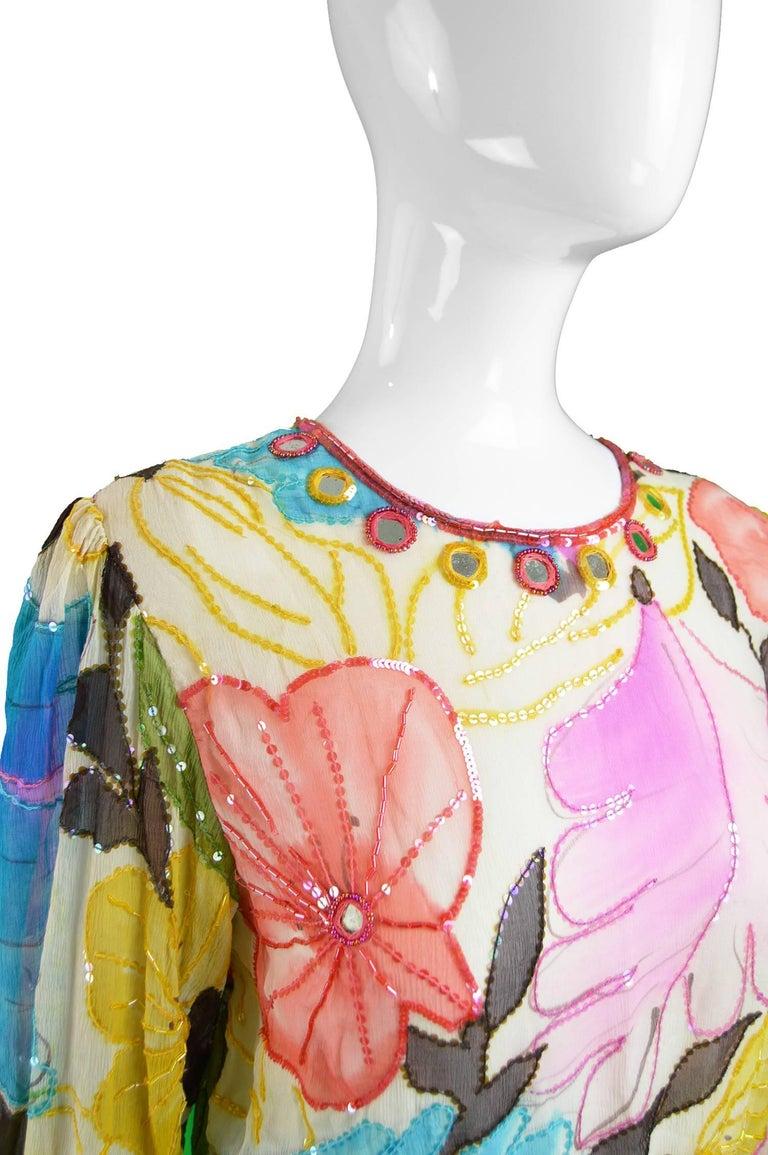 Swee Lo Vintage Pure Watercolour Silk Glass Beaded Dress, 1970s For Sale 2