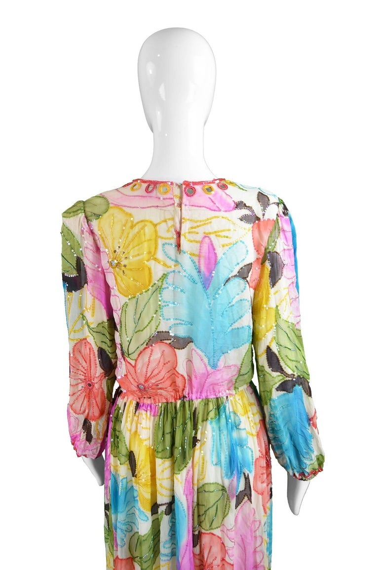 Swee Lo Vintage Pure Watercolour Silk Glass Beaded Dress, 1970s For Sale 3