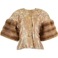 Victor Costa for Neiman Marcus Vintage Brocade Jacket Extravagant Faux Fur Cuffs