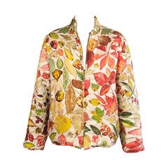 Hermes Autumn Leaves Reversible Quilted Silk Jacket and Skirt