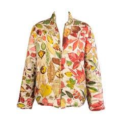 Hermes Autumn Leaves Reversible Quited Silk Jacket & Skirt, Never Worn