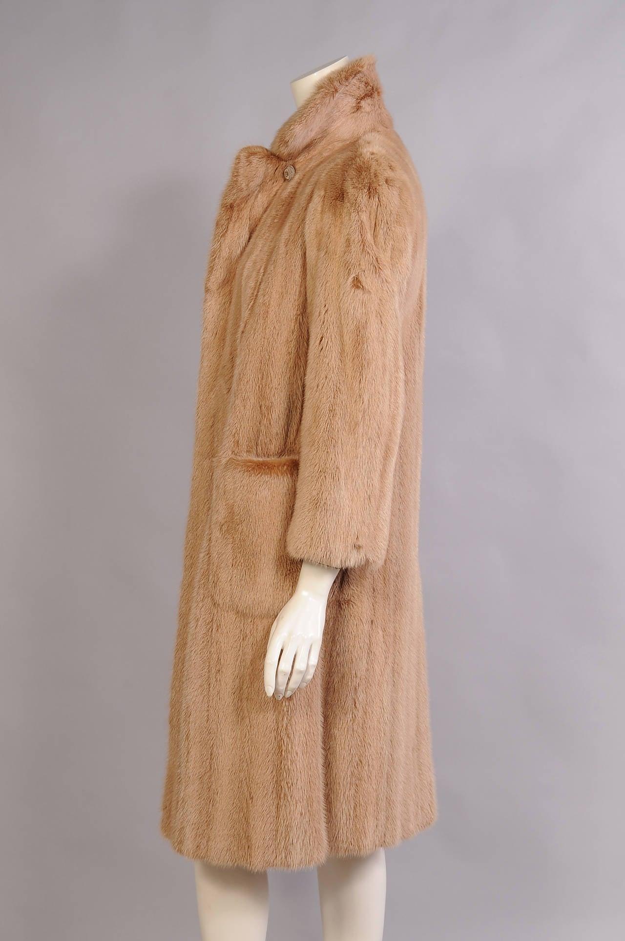 Brown Alixandre Furs Honey Blond Mink Coat For Sale