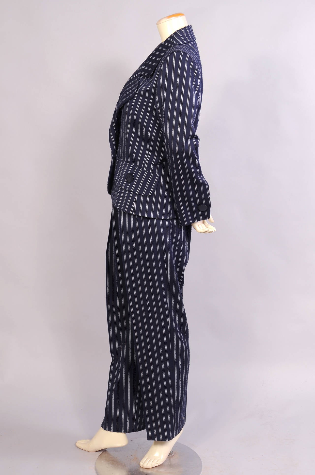 Black Givenchy Haute Couture Navy Pinstripe Suit  For Sale