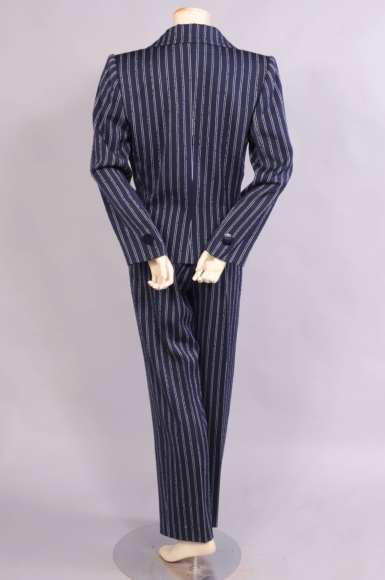 Givenchy Haute Couture Navy Pinstripe Suit  In Excellent Condition For Sale In New Hope, PA