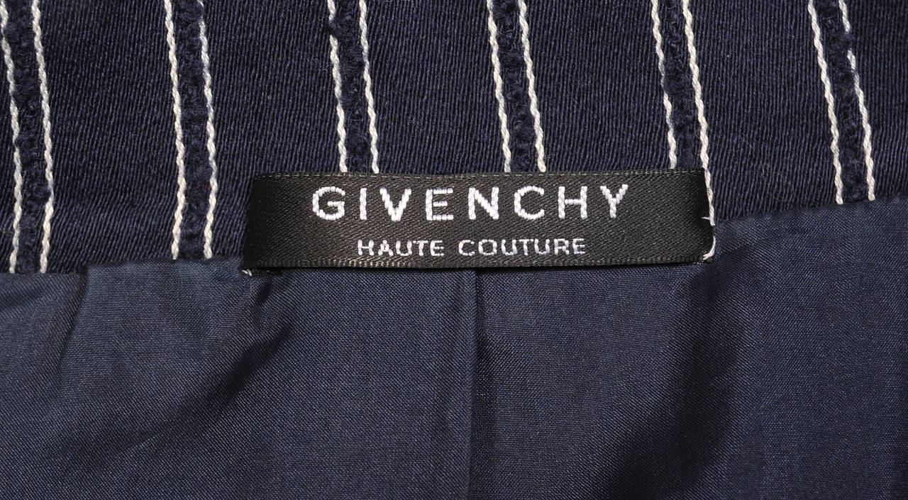 Women's Givenchy Haute Couture Navy Pinstripe Suit  For Sale