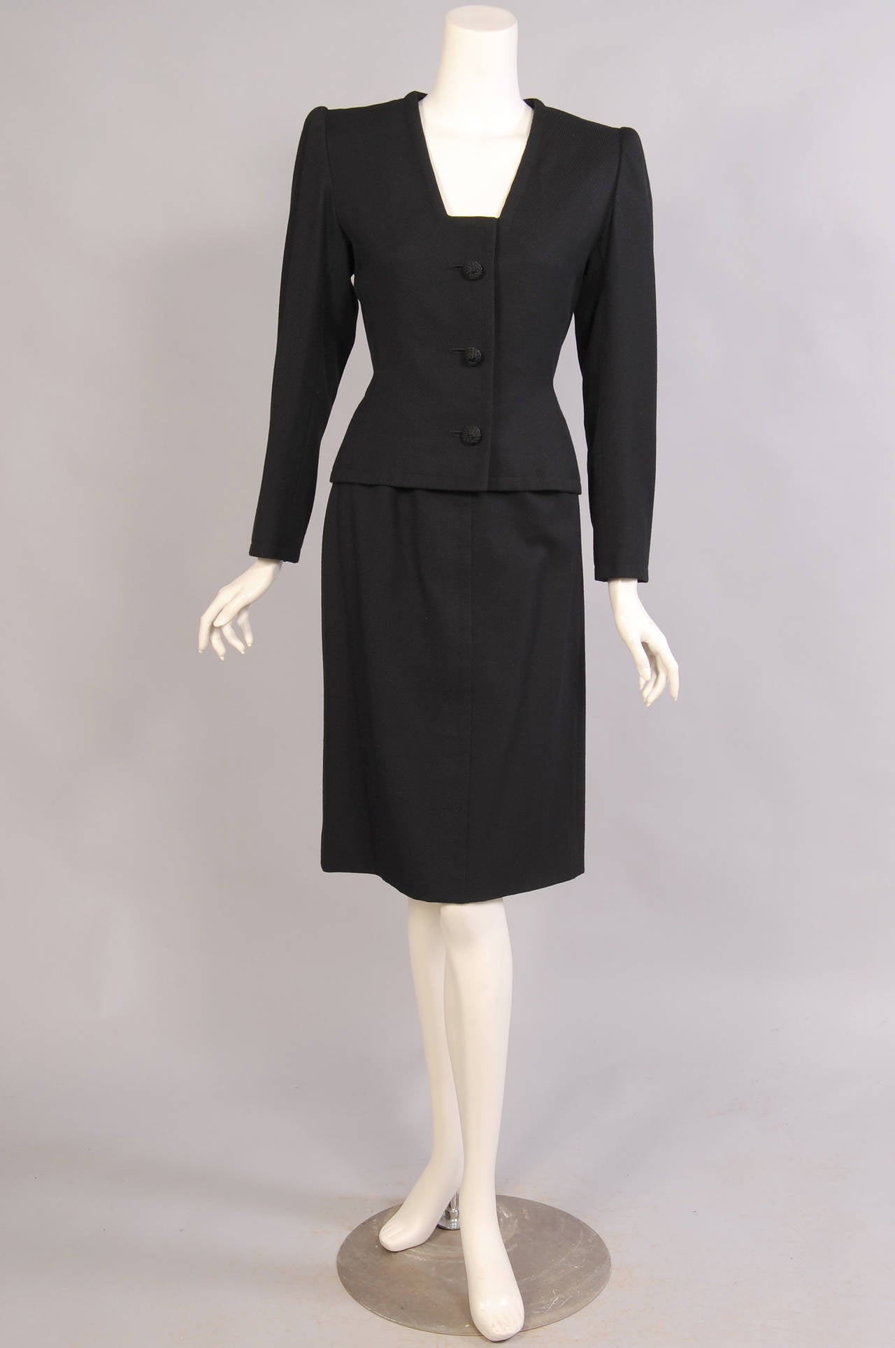 Elegant givenchy numbered haute couture black wool suit for Haute couture suits