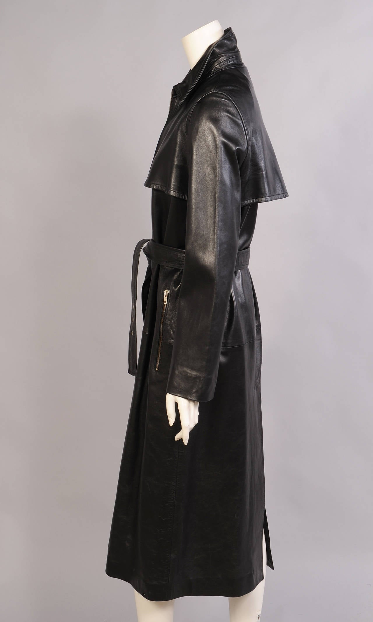 Celine Stunning Black Leather Trench Coat, Never Worn 3