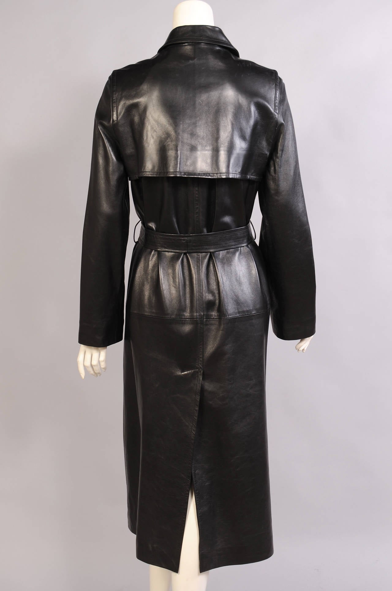 Celine Stunning Black Leather Trench Coat, Never Worn 4