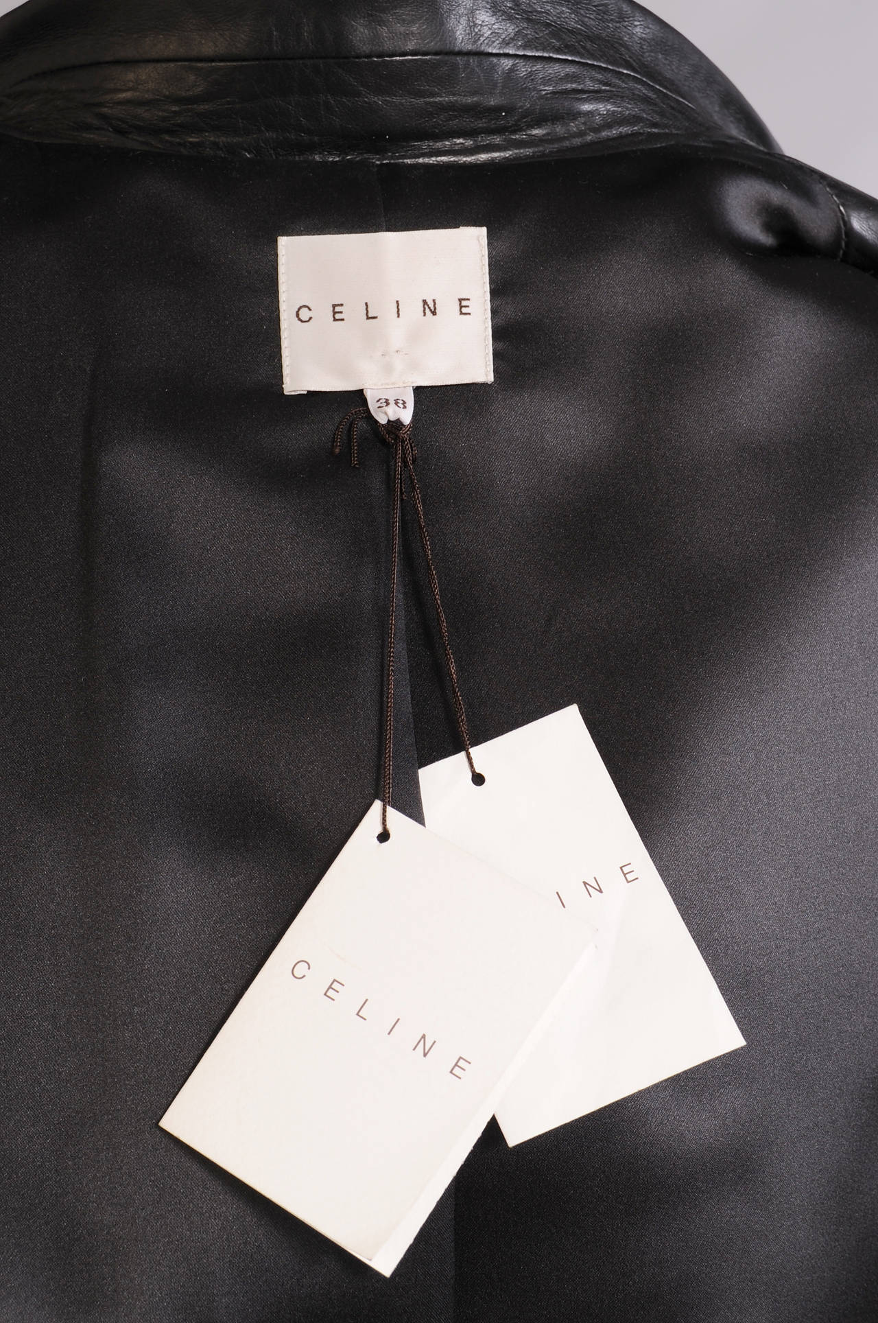Celine Stunning Black Leather Trench Coat, Never Worn 5