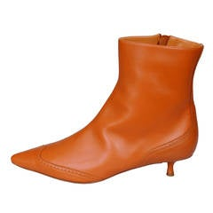 Asprey Caramel Leather Short Boots, Never Worn 40.5