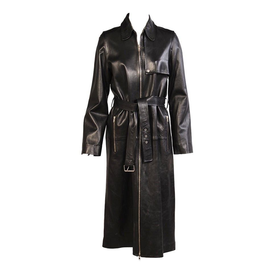 Celine Stunning Black Leather Trench Coat, Never Worn 1