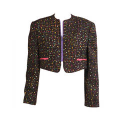 Geoffrey Beene Sequin Jacket with Colorful Zippers
