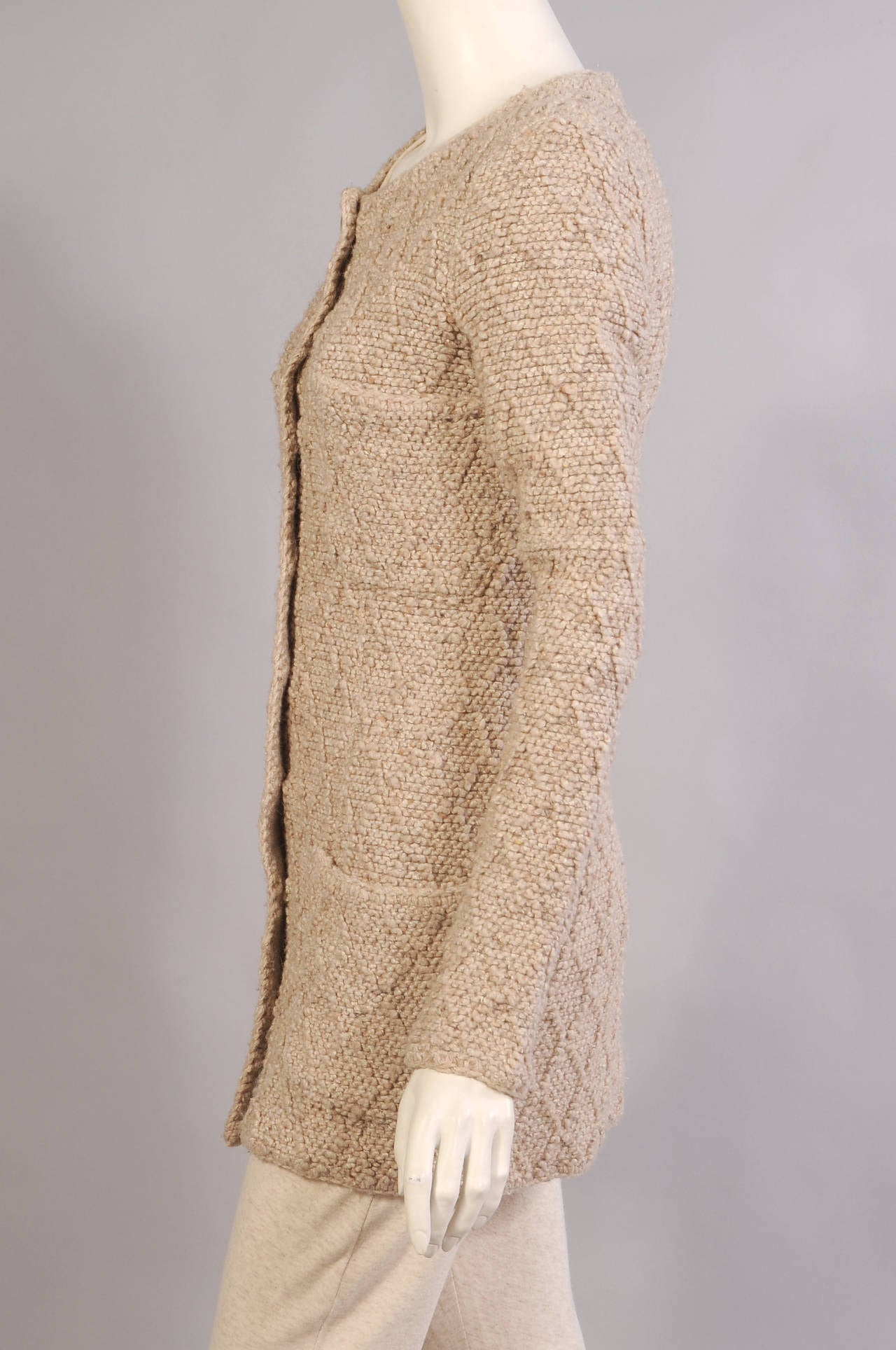 Knitting Pattern Chanel Style Jacket : Chanel Boutique Beige Knit Jacket at 1stdibs