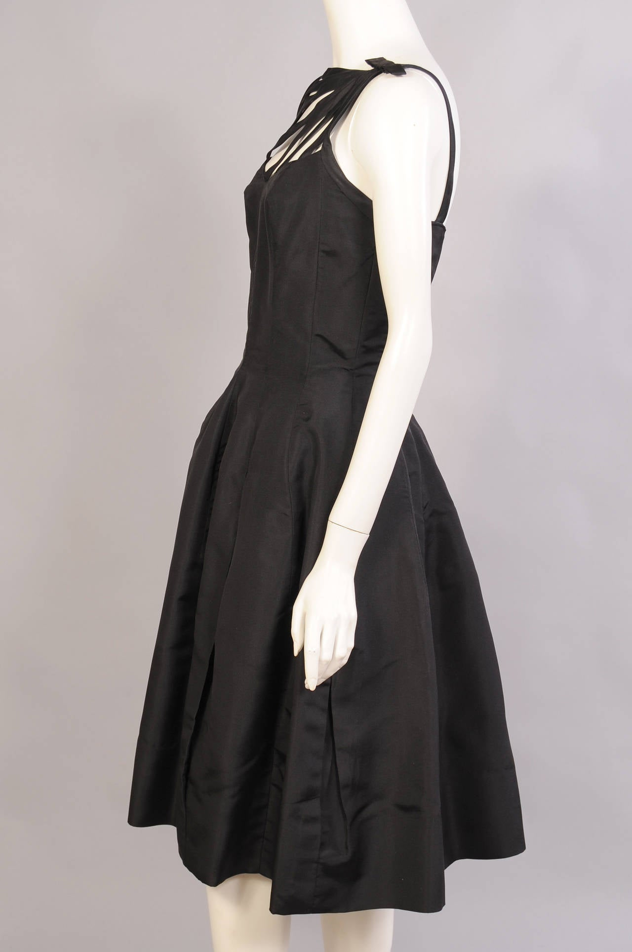 1960's Oleg Cassini Black Silk Cocktail Dress 4
