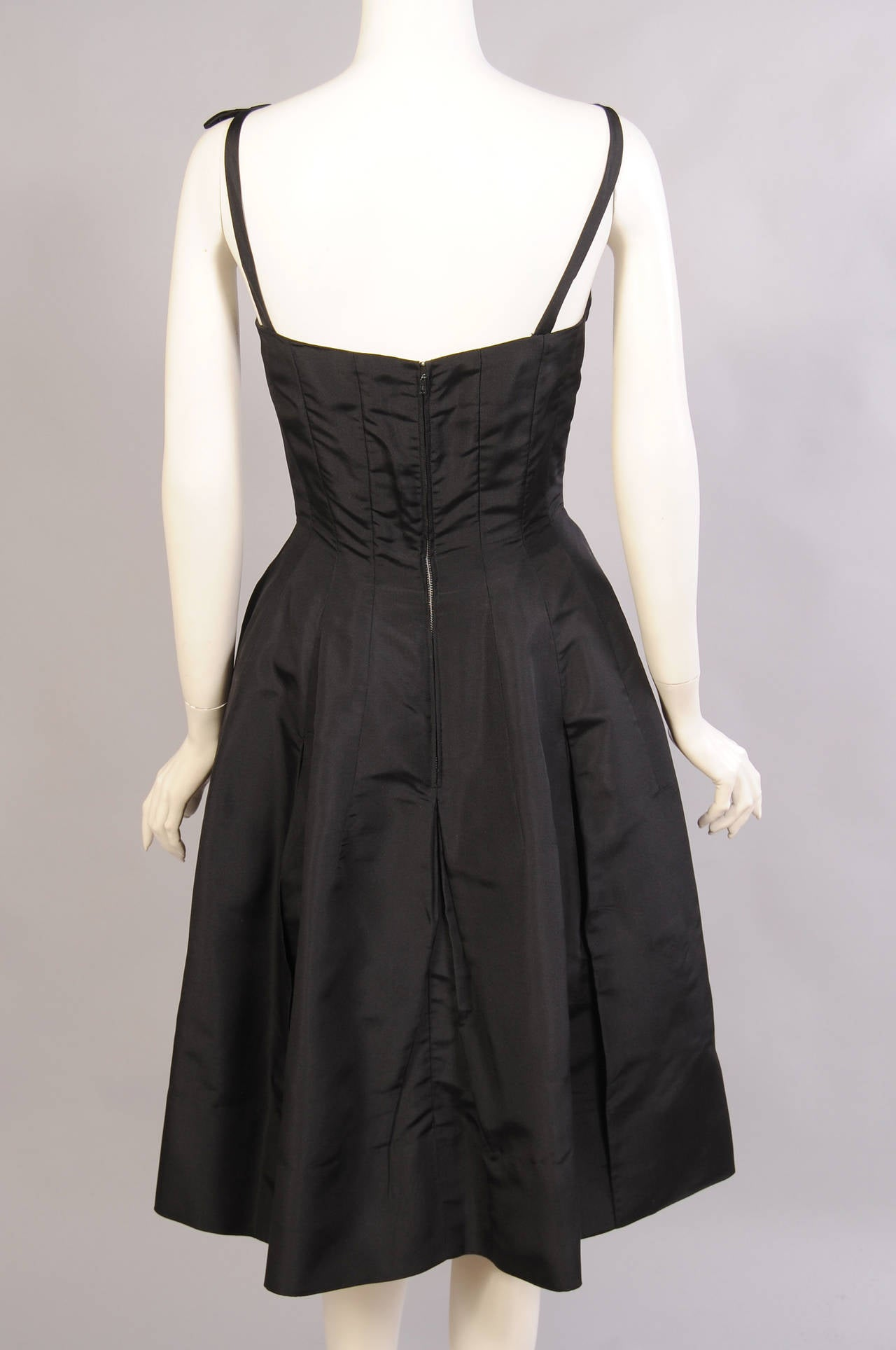 1960's Oleg Cassini Black Silk Cocktail Dress 5