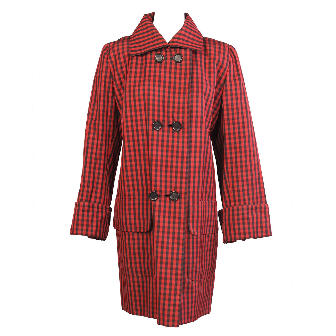Givenchy Haute Couture Red and Black Silk Coat For Sale