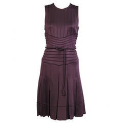 Chado Ralph Rucci Aubergine Pin Tucked Dress, Never Worn