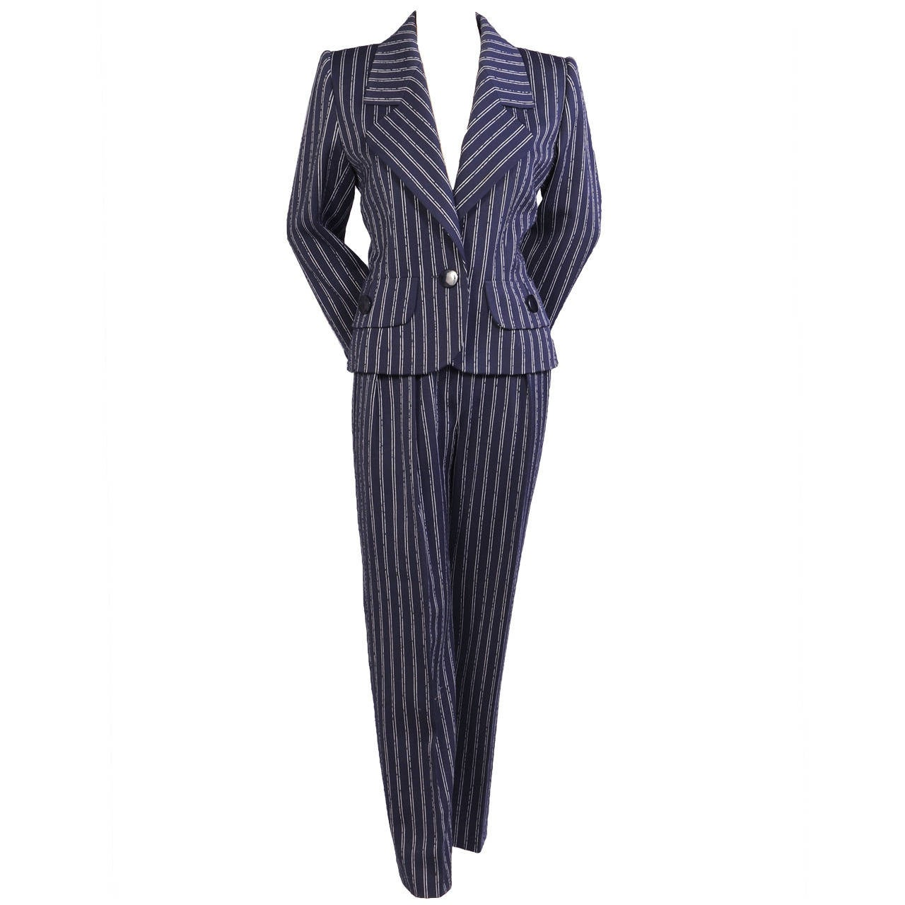 Givenchy Haute Couture Navy Pinstripe Suit
