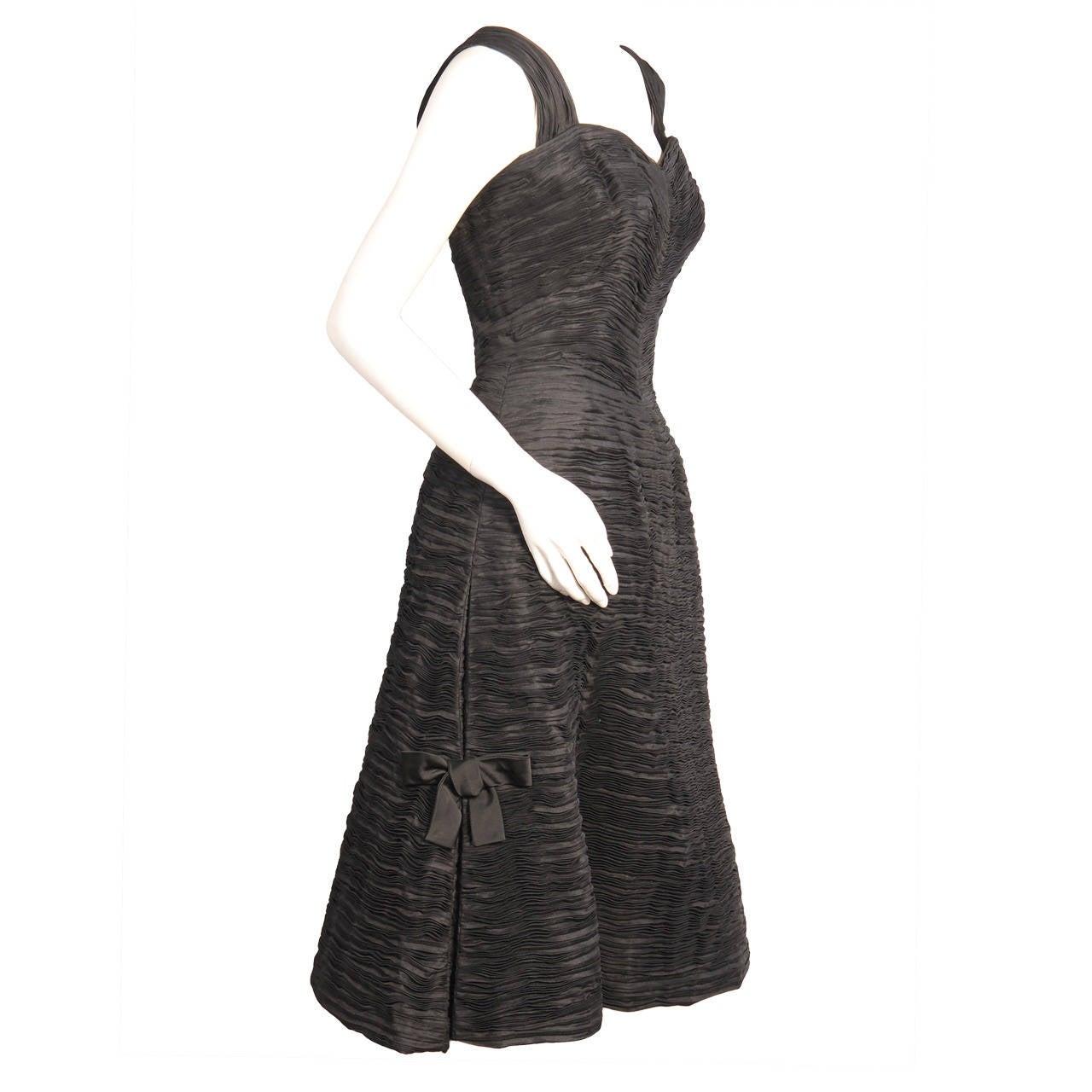 Sybil Connolly Black Pleated Linen Dress
