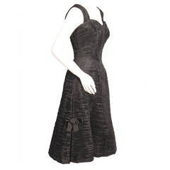 Sybil Connolly Black Pleated Linen Dress