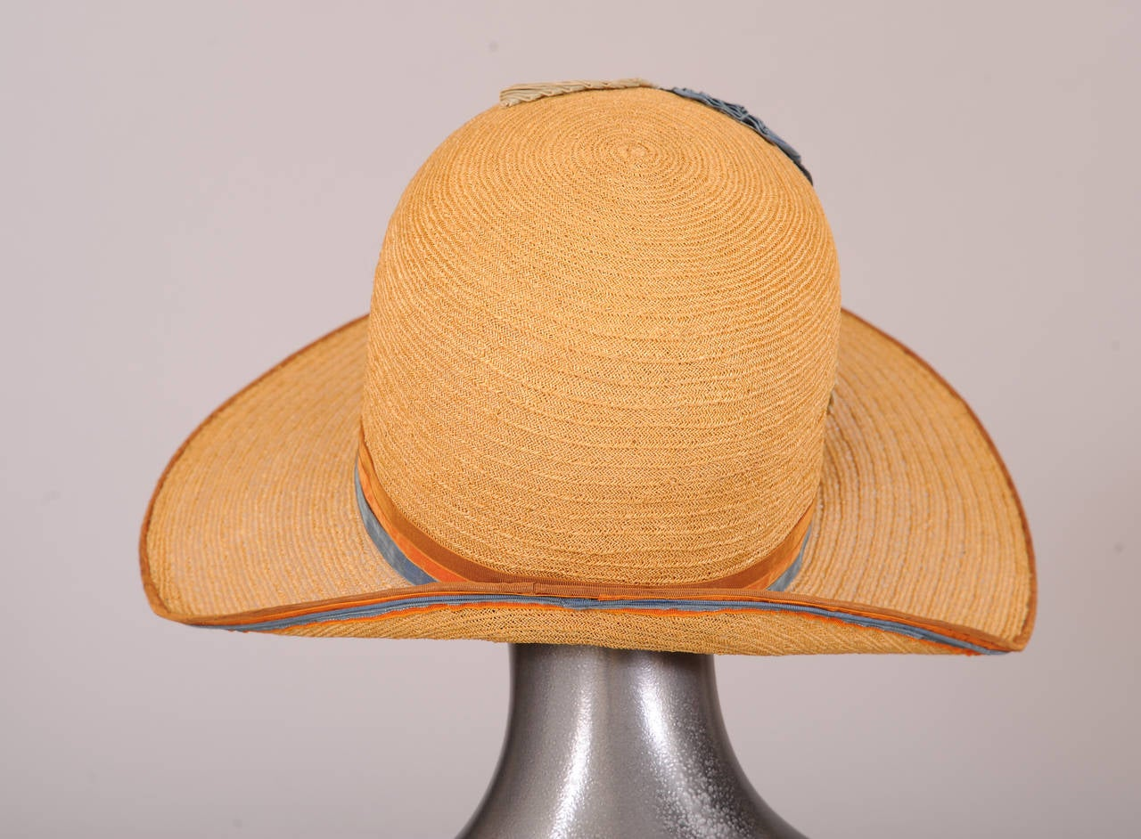 Brown 1920's Natural Straw Cloche, Colorful Gros Grain Ribbon Trim For Sale