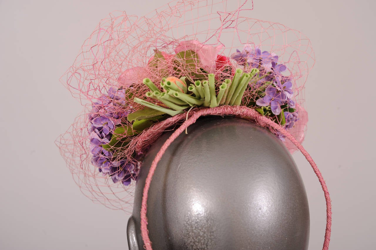 1940's Cocktail Hat, Spring Bouquet 4