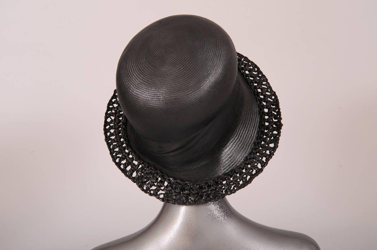 Women's 1920's Le Chapeau Chic, Bonwit Teller Black Straw Cloche For Sale