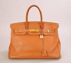 Hermes Saddle Birkin Bag, 35 cm Gold Hardware