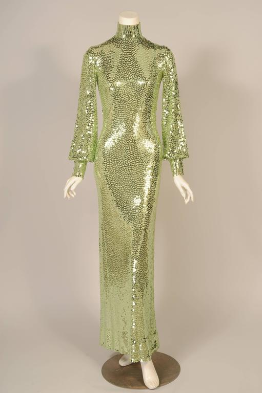 1960's-1970's Norman Norell Iconic Mermaid Gown Sparkling Green Sequins on Silk  9
