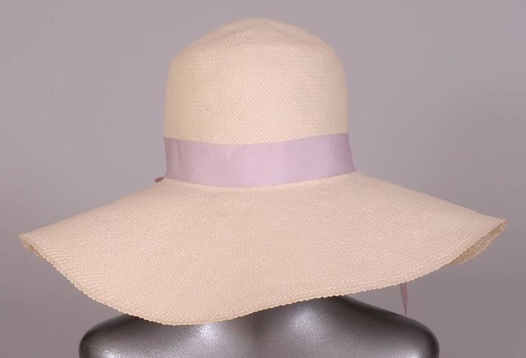 Women's Wathne White Straw Hat with Violets For Sale
