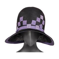 1920's Agnes Paris Copy Black Straw Cloche Hat, Lavender Ribbon Trim