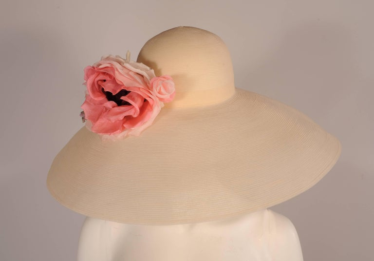Brown Patricia Underwood Spectacularly Large Wide Brimmed Flower Trimmed Picture Hat For Sale