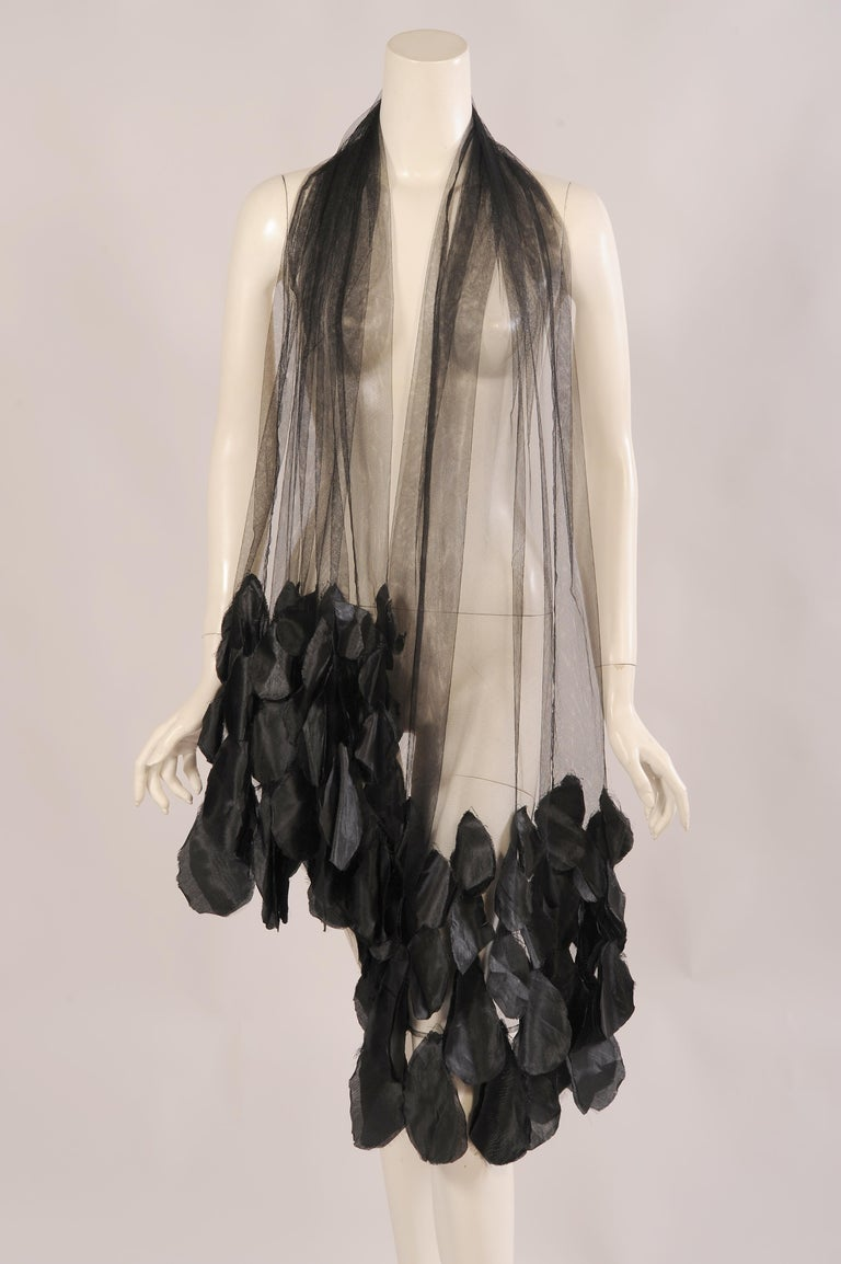 Women's 1930's Black Tulle Shawl Wrap with Appliqued Black Flower Petals For Sale