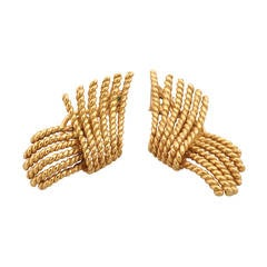 Tiffany & Co. Schlumberger Gold Rope Twist Earrings