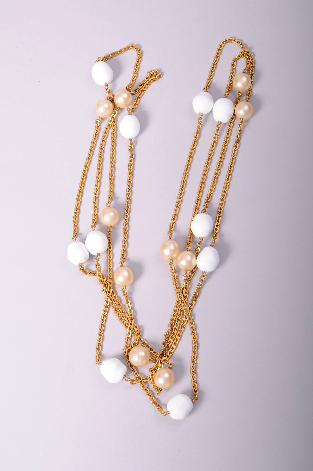 Chanel Long Pearl & Poured Glass Bead Necklace 3