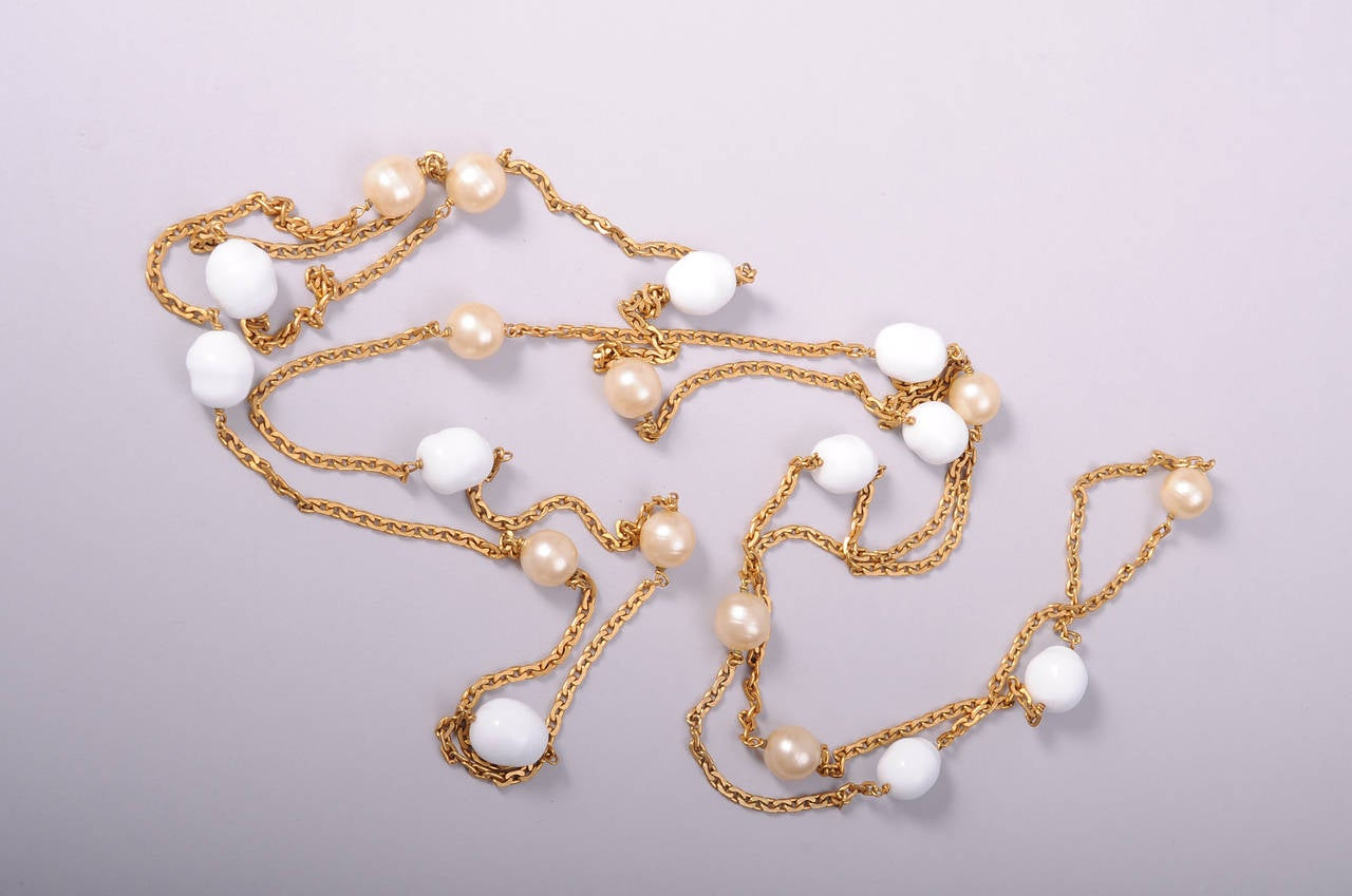Chanel Long Pearl & Poured Glass Bead Necklace 2