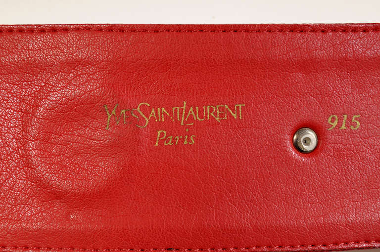 Yves Saint Laurent Red Leather with Sea Shells In New never worn Condition For Sale In New Hope, PA