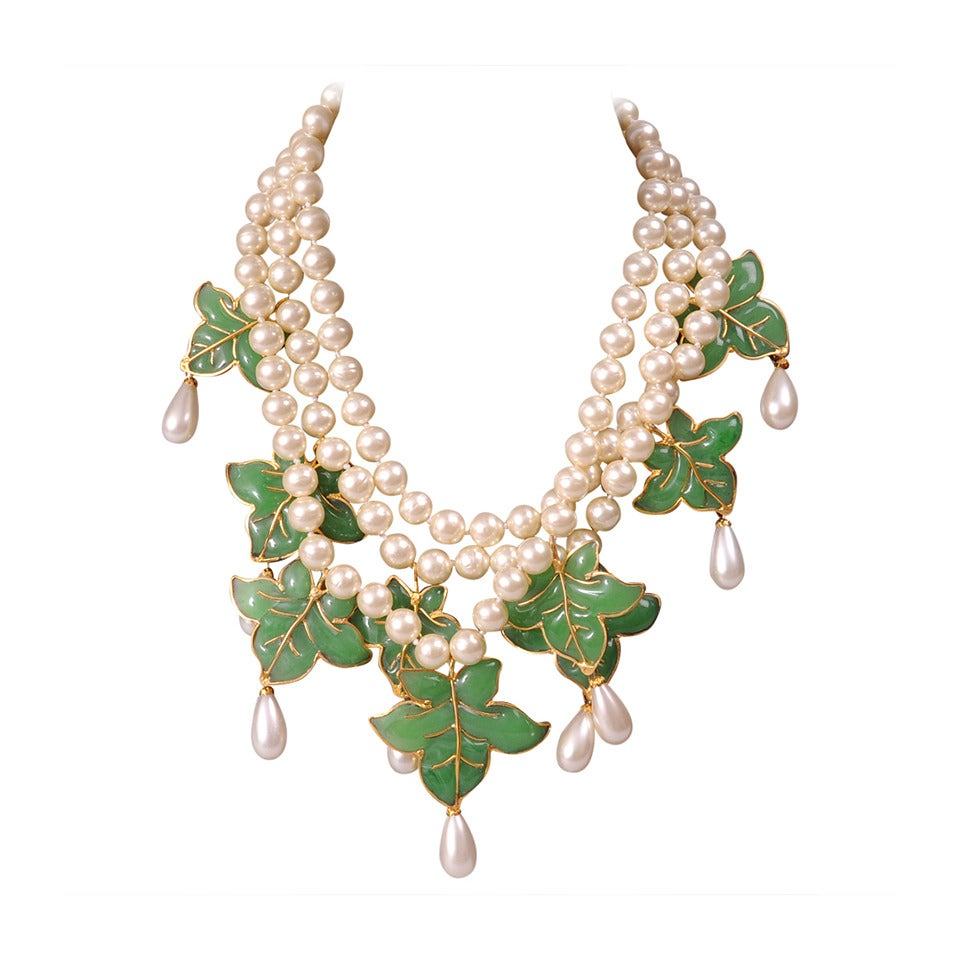 chanel pearl necklace. chanel signed haute couture gripoix leaves and pearl necklace \u0026 earrings 1