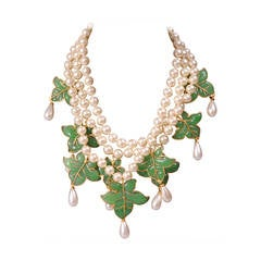 Chanel Signed Haute Couture Gripoix Leaves and Pearl Necklace & Earrings