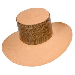 Givenchy Haute Couture Panama Straw Hat, Snakeskin Band