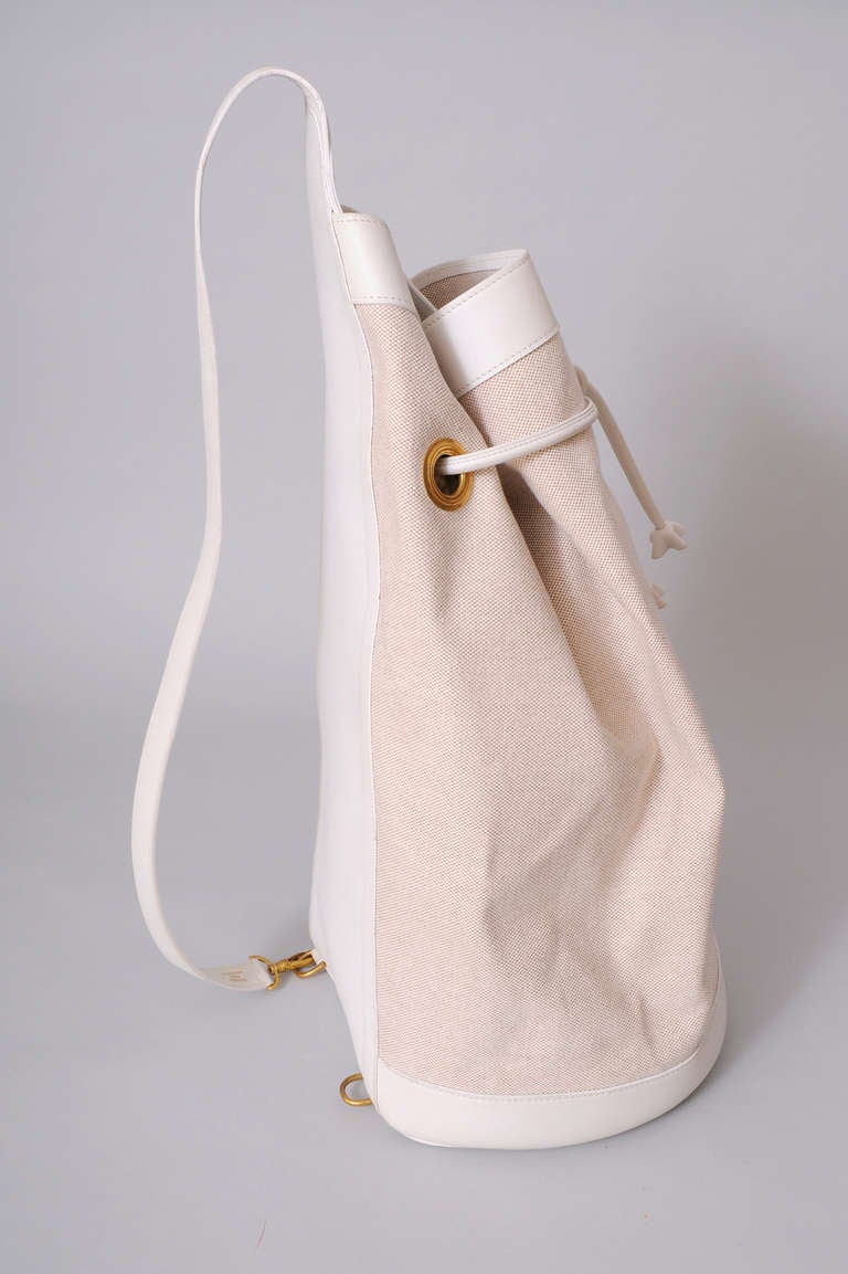 Beige Hermes, Paris Vintage White Leather & Toile Backpack Never Used For Sale