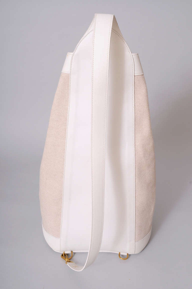 Hermes, Paris Vintage White Leather & Toile Backpack Never Used In New Never_worn Condition For Sale In New Hope, PA