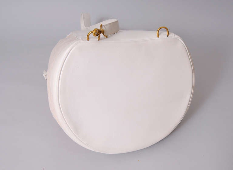 Women's Hermes, Paris Vintage White Leather & Toile Backpack Never Used For Sale