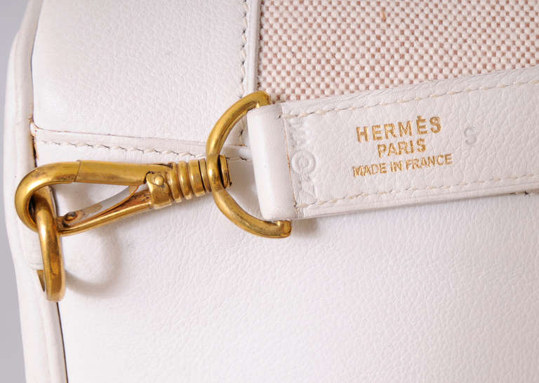 Hermes, Paris Vintage White Leather & Toile Backpack Never Used For Sale 1